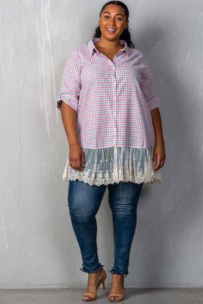 Ladies fashion plus size gingham lace-hem plus size top