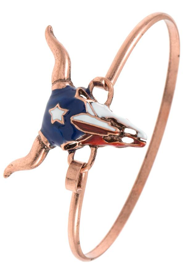 Red white blue bull paint accent bangle bracelet