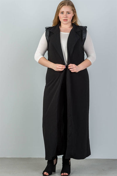 Ladies fashion plus size black faux leather armhole open-front longline vest