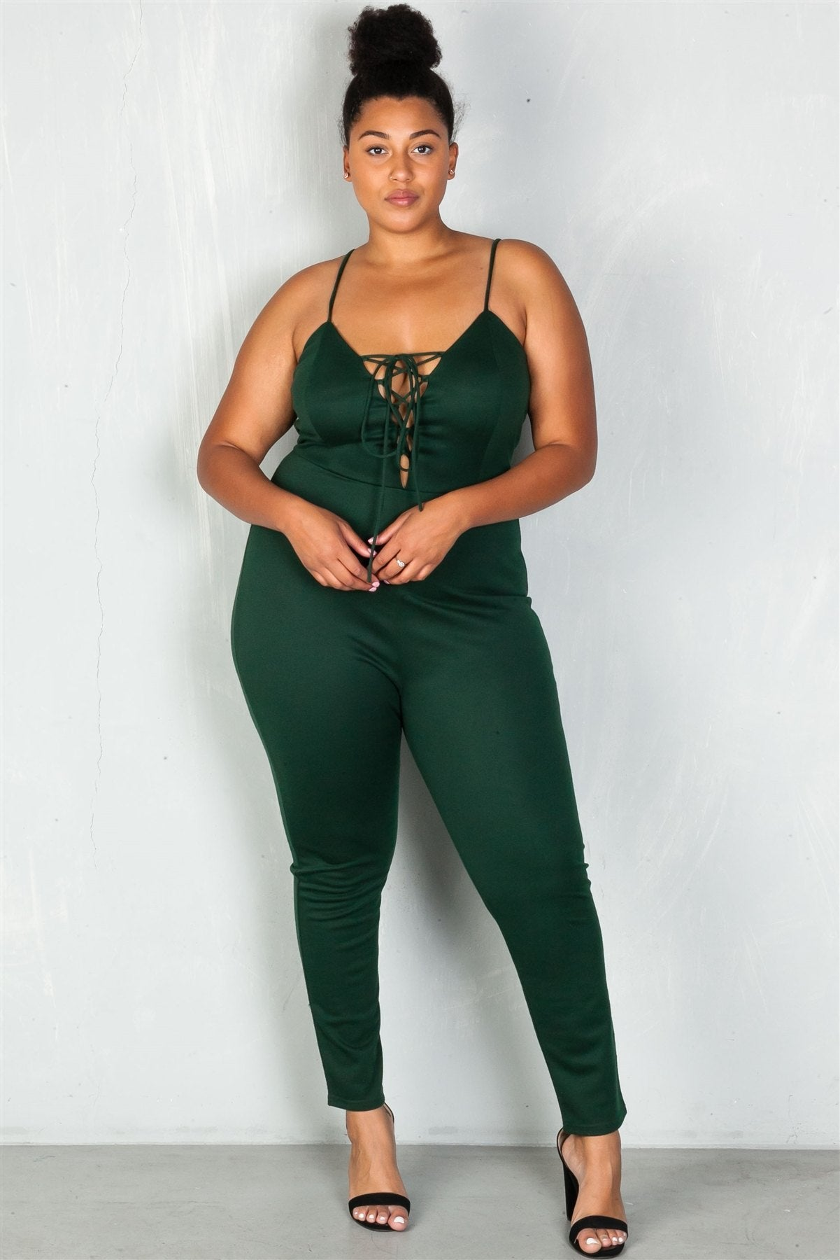 Ladies fashion plus size  lace-up v neckline  jumpsuit