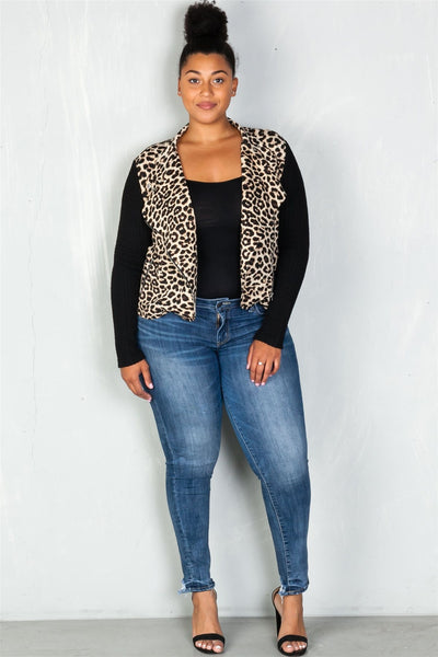 Ladies fashion plus size asymmetrical zipper and neck snap button leopard combo jacket