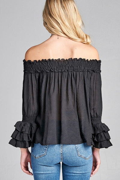Ladies fashion plus size long sleeve w/ruffle off the shoulder woven top