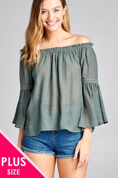Ladies fashion plus size 3/4 bell sleeve w/lace trim off the shoulder slub gauze woven top