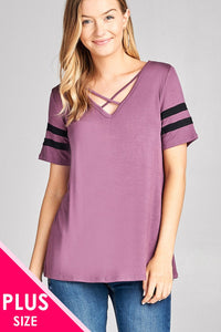 Ladies fashion plus size short sleeve double stripe v-neck w/cross strap rayon spandex top