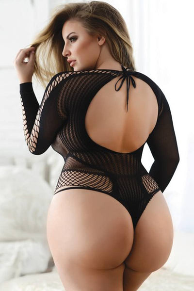 Ladies plus size faux lace-up long sleeve romper bodystocking