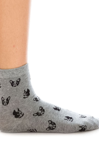 Ladies cotton socks boston terrier design