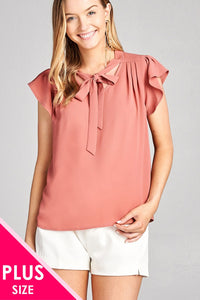 Ladies fashion plus size v-neck w/tie closure and ruffle cap sleeve crepe woven top