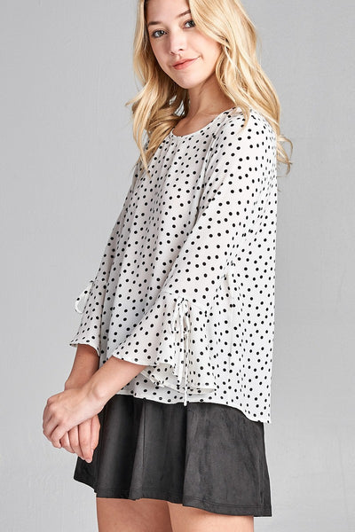 Ladies fashion plus size 3/4 w/bell sleeve round neck dot print crepe woven top