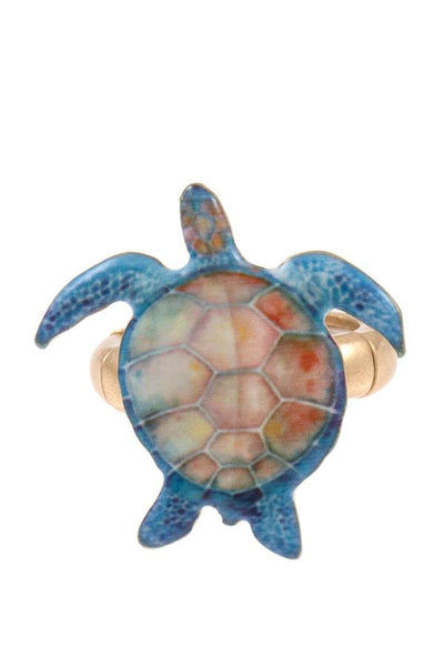 Ladies fashion sea turtle stretch ring