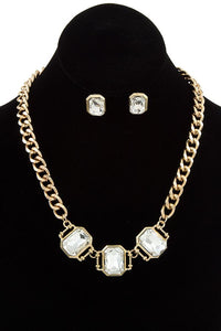 Ladies fashion faceted link gem chain necklace set