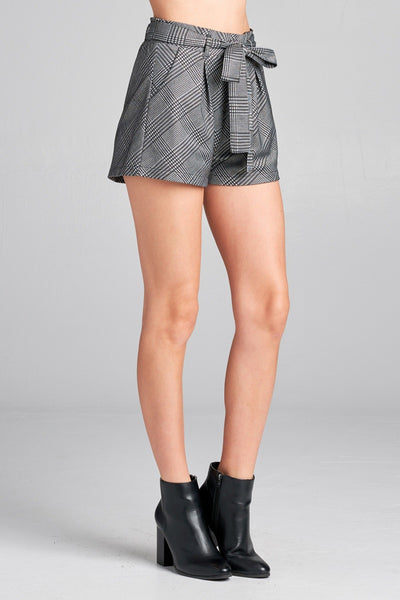 Ladies fashion plus size waist belt w/tie detail jacquard check short pants