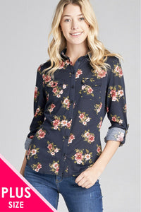 Ladies fashion plus size 3/4 roll up sleeve front pocket detail flower print stretch knit shirts