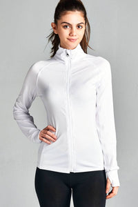 Ladies fashion solid track jacket