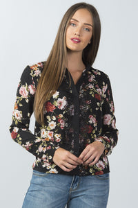 Ladies fashion long sleeve button down lace trim top