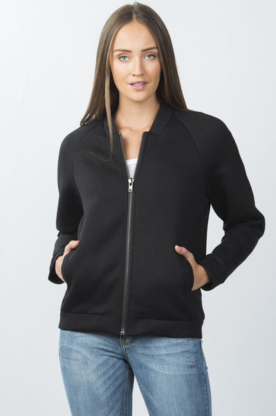 Ladies fashion front zipper closure black side slash pockets jacket