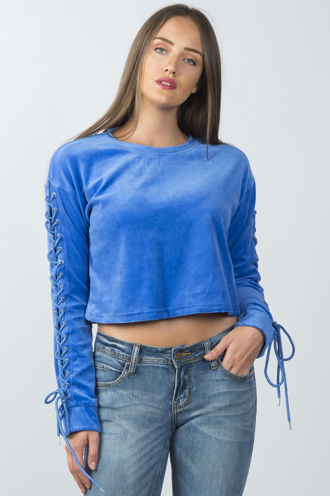 Ladies fashion royal lace up sleeve cropped sweatshirt