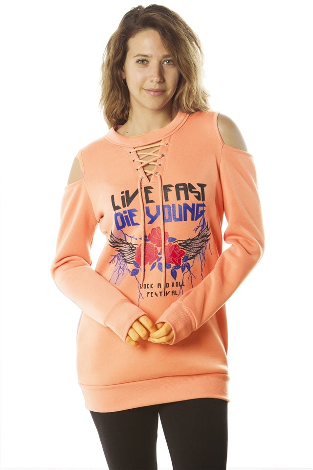 Ladies fashion  sweatshirt cold shoulder mini dress tops, pullover, embellished w/ applique