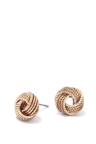 Textured knot stud earring