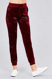 Waist contrast band w/drawstring ice velvet pants
