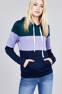 Long sleeve hoodie front kangaroo pocket color block pattern brushed french terry top