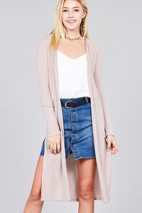 Ladies fashion long sleeve open front side slit midi length brushed waffle cardigan