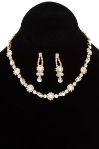 Crystal gem link choker necklace set