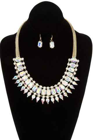 Faceted crystal gem link bib necklace set