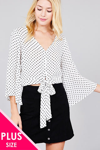 Ladies fashion plus size 3/4 bell sleeve v-neck w/button front tie detail dot printed crinkle gauze woven top