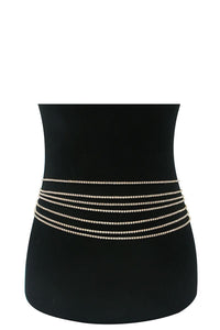 Multi row rhinestone sexy belt