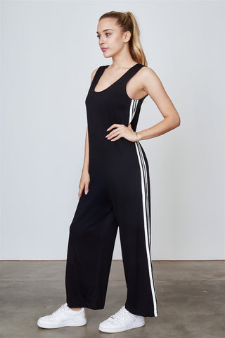 Ladies fashion side stripe contrast sleeveless jumpsuit