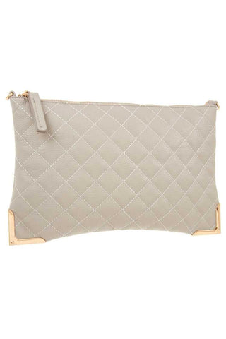 Faux leather quilted detailed clutch bag