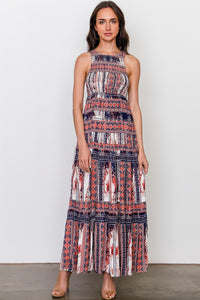Red blue mix print sleeveless shirred maxi dress