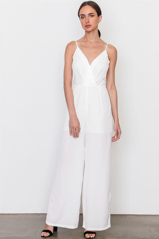 White v neck jumpsuit