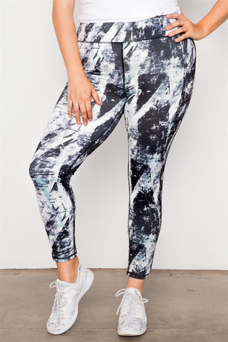 Plus Size Active Athletic Mid Rise Abstract Leggings