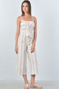 Cream Knotted Striped Jumpsuit