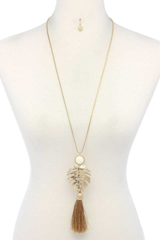 Tropical Leaf Pendant Tassel Necklace