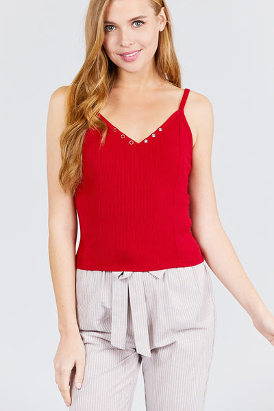 V-neck W/snap Button Detail Cami Rayon Spandex Heavy Rib Knit Top