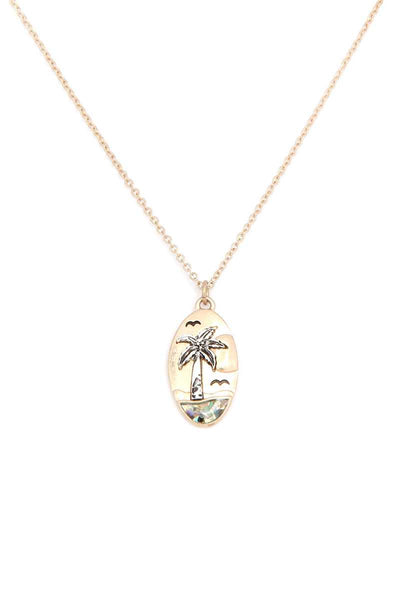 Palm Tree Oval Shape Necklace
