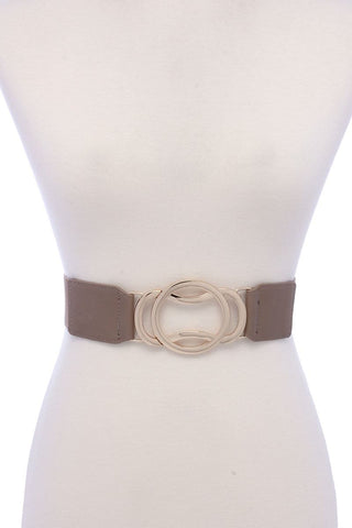 Circle Metal Buckle Pu Leather Elastic Belt