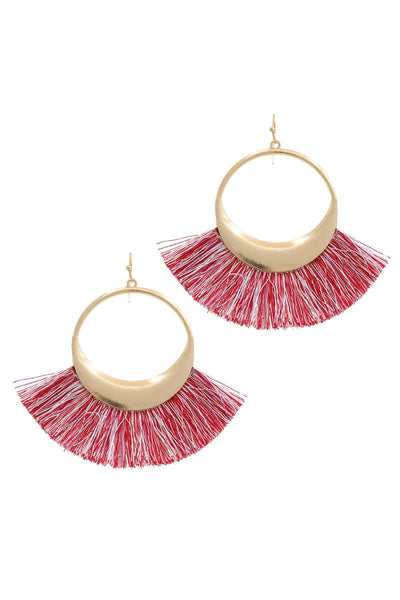 Metal Fan Tassel Drop Earring