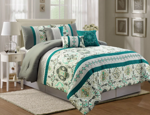 Florence Embroidery 7 Piece Luxury Comforter Set