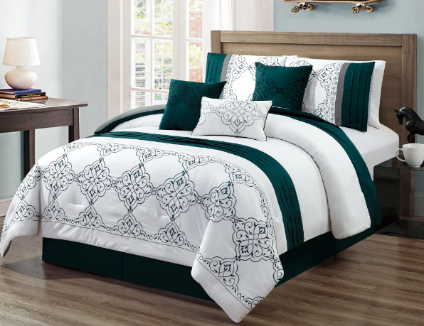Chula Embroidery 7 Piece Luxury Comforter Set