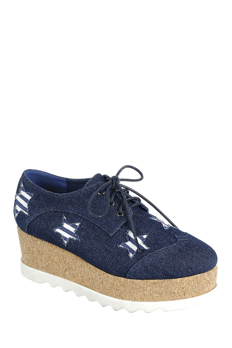 Ladies fashion lace up oxford, closed almond toe, tractor wedge flatform, lace up closure, with decorative star details
