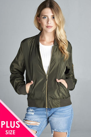 Ladies fashion plus size light weight bomber jacket