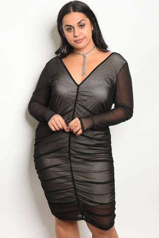 Ladies fashion plus size long sleeve mesh bodycon dress with a v neckline and nude lining