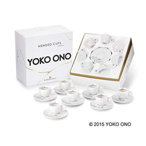 ILLY ART COLLECTION - Mended Cups Coffee Set by YOKO ONO - 7 Espresso + 7 Saucers - Vancelette Global Art Acquisitions