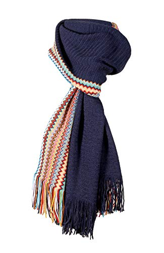 MISSONI MEN'S NAVY W/MULTI SIGNATURE ZIGZAG STRIPE WOOL WINTER SCARF
