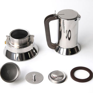 Alessi Espresso Maker 9090 by Richard Sapper, 6 Espresso Cups - Vancelette Global Art Acquisitions