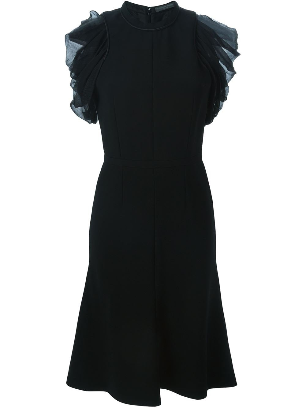 Alexander McQueen Black Draped Sleeve A-line Dress 42 - Vancelette Global Art Acquisitions