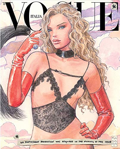 Vogue Italia Magazine (January, 2020) Milo Manara Illustration Olivia Vinten in Gucci Cover